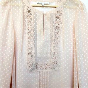 DANIEL RAINN Peach-Cream Sheer Top Size L